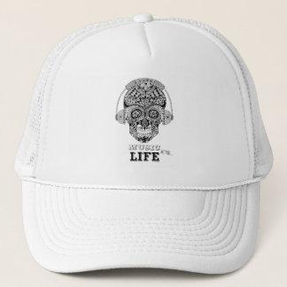 Music Is My Life - Ornate Skull Trucker Cap
