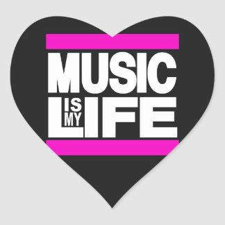 Music is My Life Pink Heart Sticker