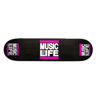 Music is My Life Pink Skate Board Deck