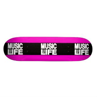Music is My Life Pink Custom Skateboard