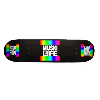 Music Is My Life Rainbow Skate Board
