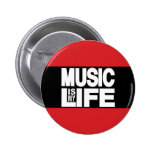 Music Is My Life Red 6 Cm Round Badge