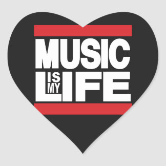 Music is my life Red Heart Sticker