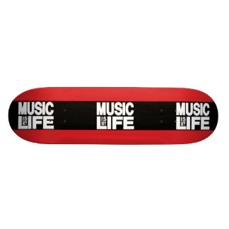 Music Is My Life Red Skateboard Deck