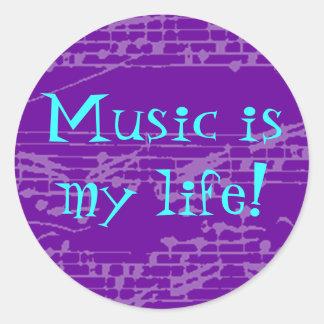 Music Is My Life Round Sticker