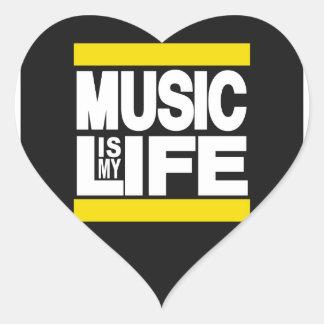 Music is My Life Yellow Heart Sticker