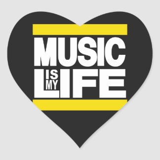 Music is My Life Yellow Heart Sticker
