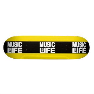 Music is My Life Yellow Skateboard