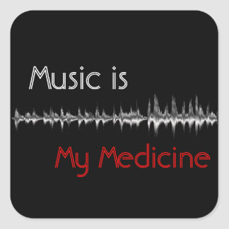 Music is My Medicine Black & Red Soundwave Sticker