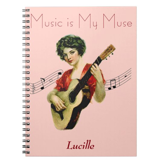 Music is My Muse Vintage Artwork: Personalised Notebooks