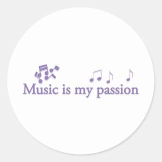 Music is my passion round sticker