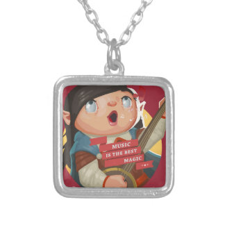 Music Is The Best Magic Square Pendant Necklace