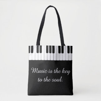 Music is the Key to the Soul Piano Tote
