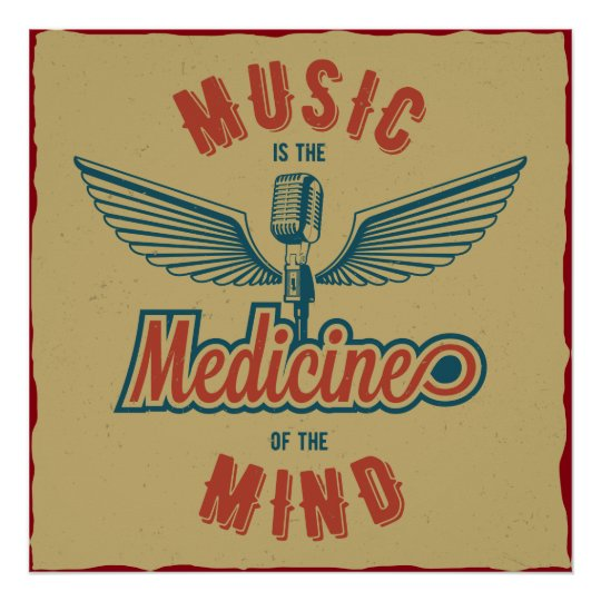 Music is the Medicine Retro Vintage Wallart Poster