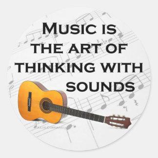 Music is thinking with sound Guitar Round Sticker
