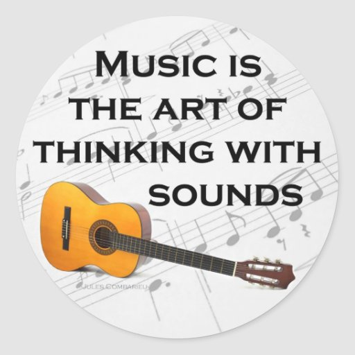 Music is thinking with sound Guitar Round Stickers