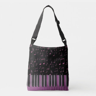music keyboard dark pink crossbody bag