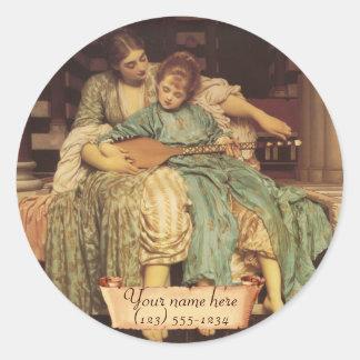 """""""Music Lesson"""" Pre-Raphaelite Bookplate Classic Round Sticker"""