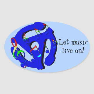 Music Lives in me,Old School_ Oval Sticker