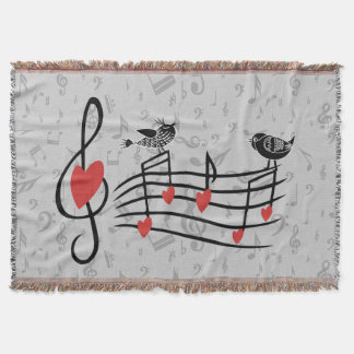 Music Love Birds on Gray Musical Notes Throw Blanket