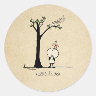 Music lover - love note round sticker