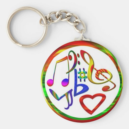 Music Lovers Basic Round Button Key Ring