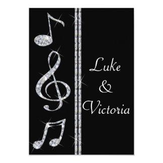 Music Lovers Diamond Shimmer On Black Wedding 13 Cm X 18 Cm Invitation Card