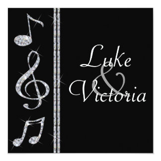 Music Lovers Diamond Shimmer On Black Wedding Card