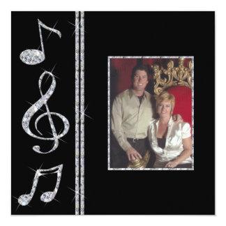 Music Lovers Diamond Shimmer On Black Wedding 13 Cm X 13 Cm Square Invitation Card