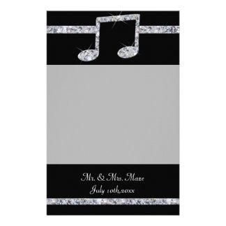 Music Lovers Diamond Shimmer On Black Wedding Stationery