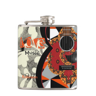 Music Lovers Funky Orange Patterned Guitar Design Hip Flask