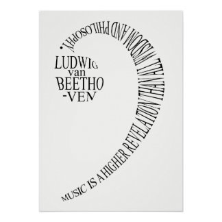 Music Lovers Gift Poster - Bass Clef Word Art