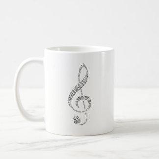 Music Lovers Mug - Treble & Bass Clef Word Art