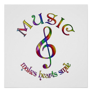 Music Makes Hearts Smile Poster