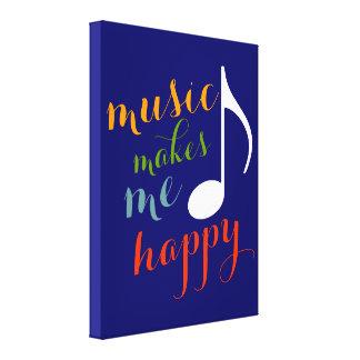 'music makes me happy' color decor stretched canvas print