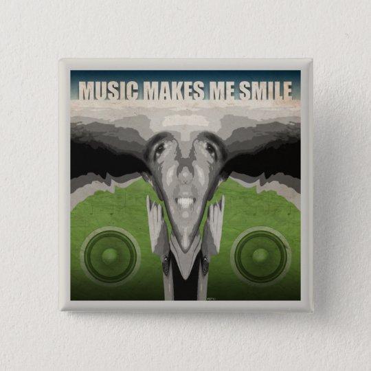 Music Makes Me Smile 15 Cm Square Badge