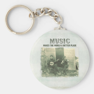 Music makes the world a better place vintage photo key ring