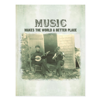 Music makes the world a better place vintage photo postcard