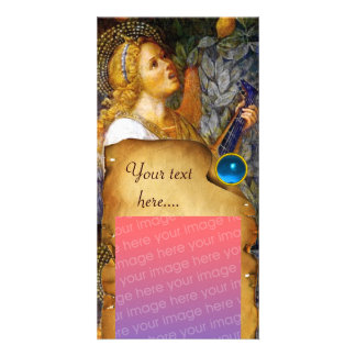 MUSIC MAKING ANGEL CHRISTMAS PARCHMENT Blue Gem Personalised Photo Card