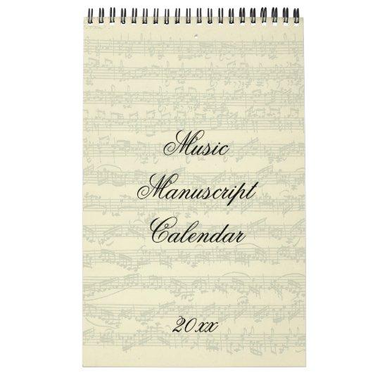 Music Manuscript Excerpts Current Year Wall Calendar