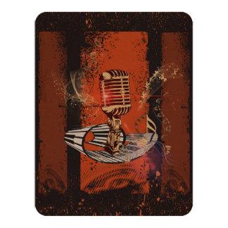 Music, Microphone 11 Cm X 14 Cm Invitation Card