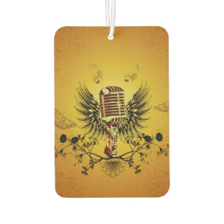 Music, microphone with wings and key notes car air freshener