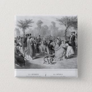 Music, military concert in a public garden 15 cm square badge