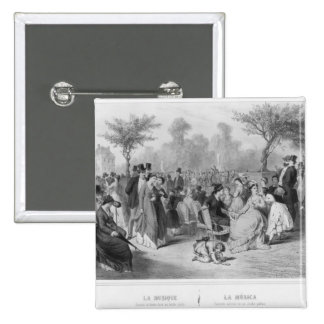 Music, military concert in a public garden 15 cm square badge