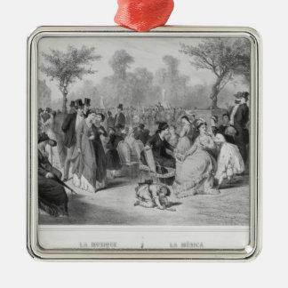 Music, military concert in a public garden Silver-Colored square decoration
