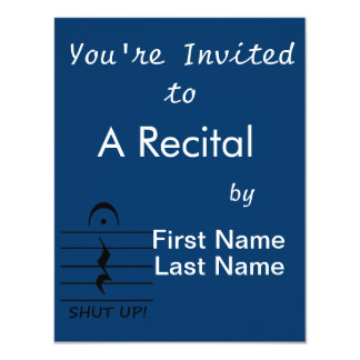 Music Notation Rest with Shut up 11 Cm X 14 Cm Invitation Card