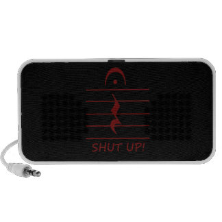 Music Notation Rest with Shut up Maroon Speaker System