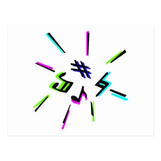 Music notation symbols graphic post card