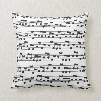 Music Note Black and White Throw Pillow