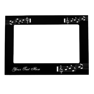Music Note Black Photo Frame Magnet